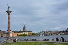 Vue à Stockholm Riddarholmen et à Sodermalm photo libre de droits