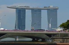 Vue à travers le Padang à Marina Bay Sands, Singapour image libre de droits