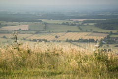 Vue à travers le paysage anglais de campagne pendant la veille de fin d'été Photos stock
