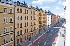 Vue à Upplandsgatan et à bâtiments résidentiels Photos stock