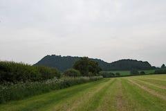 Vue éloignée de château de Beeston, sur la traînée de grès, dans Cheshire Photo libre de droits