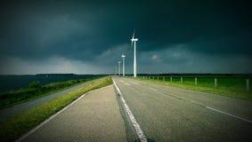 Vue éolienne dans la tempête néerlandaise Image libre de droits