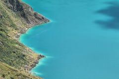 Vue étonnante du lac de la caldeira de Quilotoa Images libres de droits