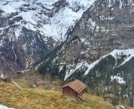 Vue étrange de village de montagne Photo libre de droits