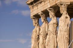 Vue étroite d'Erechtheion en été Grèce Images stock