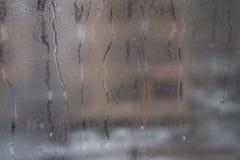 Vue étroite d'une fenêtre distinctement sale montrant la poussière abrasive, la crasse, les filets et l'opacité photo libre de droits
