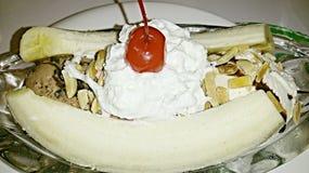 Vue étroite de banana split Photos stock