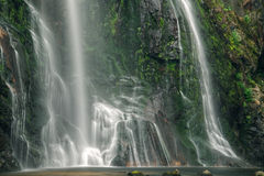Vue étroite de la cascade et de la roche moussue Images stock