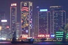 Vue 2011 de nuit de Hong Kong à Noël Images libres de droits