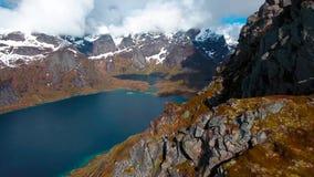 Vue aérienne, îles de Lofoten, Reine, Norvège Photos stock