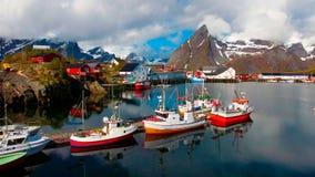 Vue aérienne, îles de Lofoten, Reine, Norvège Photographie stock libre de droits