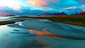Vue aérienne, îles de Lofoten, Reine, Norvège Photo libre de droits