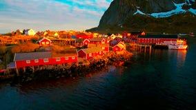 Vue aérienne, îles de Lofoten, Reine, Norvège Images libres de droits