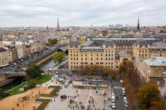 Vue aérienne au-dessus d'Ile de la Cite, Paris, France Photographie stock