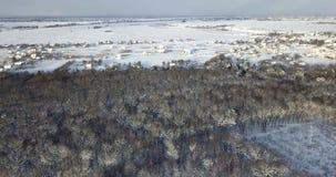 Vue aérienne au-dessus d'une forêt neigeuse couverte de neige près des bâtiments de campagne Mouche au-dessus de sapin et de pins clips vidéos