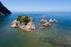 Vue aérienne au-dessus d'une petite île Photos stock