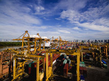 Vue aérienne au-dessus de chantier de construction navale de Bangkok Images stock