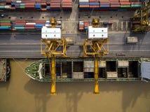 Vue aérienne au-dessus de chantier de construction navale de Bangkok Photos libres de droits