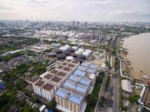 Vue aérienne au-dessus de chantier de construction navale de Bangkok Photographie stock
