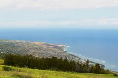Vue aérienne au-dessus de la côte de l'Océan Indien chez Les Colimatons Les Hauts chez Reunion Island, d'outre-mer français image stock