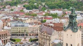 Vue aérienne au-dessus de Lviv, Ukraine Photo stock