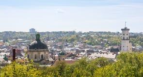Vue aérienne au-dessus de Lviv, Ukraine Photo libre de droits