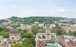 Vue aérienne au-dessus de Lviv, Ukraine Images stock