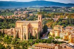 Vue aérienne au-dessus de Sienne Images libres de droits