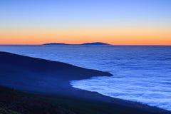 Vue aérienne au-dessus des nuages, Ténérife, Îles Canaries, Espagne Photos libres de droits