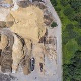Vue aérienne au-dessus du bac à sable Endroit industriel en Pologne photo libre de droits
