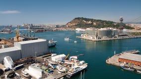 Vue aérienne au port de Barcelone Images libres de droits