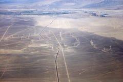 Vue aérienne aux turbines de vent photographie stock