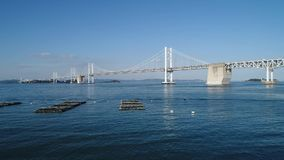 Vue aérienne, avance dedans de mer calme et bleue, Seto-pont banque de vidéos