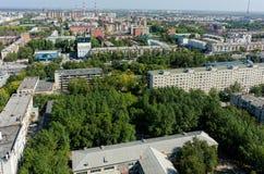 Vue aérienne avec le bureau et les bâtiments résidentiels Photo stock