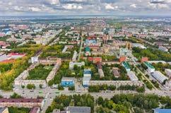 Vue aérienne avec le bureau et les bâtiments résidentiels Photographie stock libre de droits