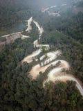 Vue aérienne, belle route sur la montagne en Thaïlande Photos libres de droits