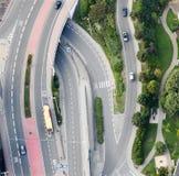 Vue aérienne : Croisement de routes Image stock