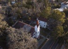 Vue aérienne d'église historique en Beaufort, la Caroline du Sud Images libres de droits