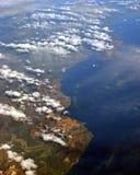 Vue aérienne d'île de mer du sud   Photo stock