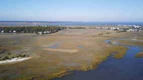 Vue aérienne d'île de port sur la côte atlantique de Caro du sud Photo stock
