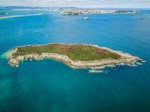 Vue aérienne d'île verte photo stock