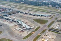 Vue aérienne d'aéroport de Changi Photographie stock libre de droits