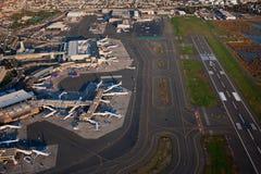 Vue aérienne d'aéroport de Logan Photo libre de droits