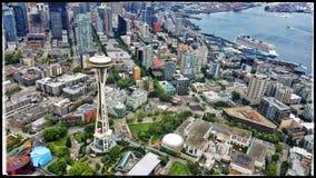 Vue aérienne d'aiguille de l'espace de Seattle image stock