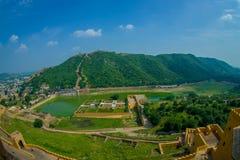 Vue aérienne d'Amber Fort près de Jaipur au Ràjasthàn, Inde Amber Fort est l'attraction touristique principale dans la région de  Image stock