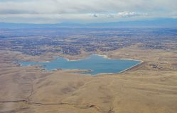 Vue aérienne d'Aurora Reservoir images stock
