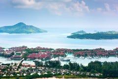 Vue aérienne d'Eden Island Mahe Seychelles Images stock