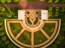 Vue aérienne d'en haut au mémorial du cimetière en Normandie, France image libre de droits
