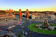 Vue aérienne d'Espanya de ` de Placa d au coucher du soleil, Barcelone, Espagne Image stock