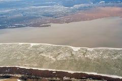 Vue aérienne d'hiver de Neusiedl de lac, Autriche, près de Vienne Photo stock